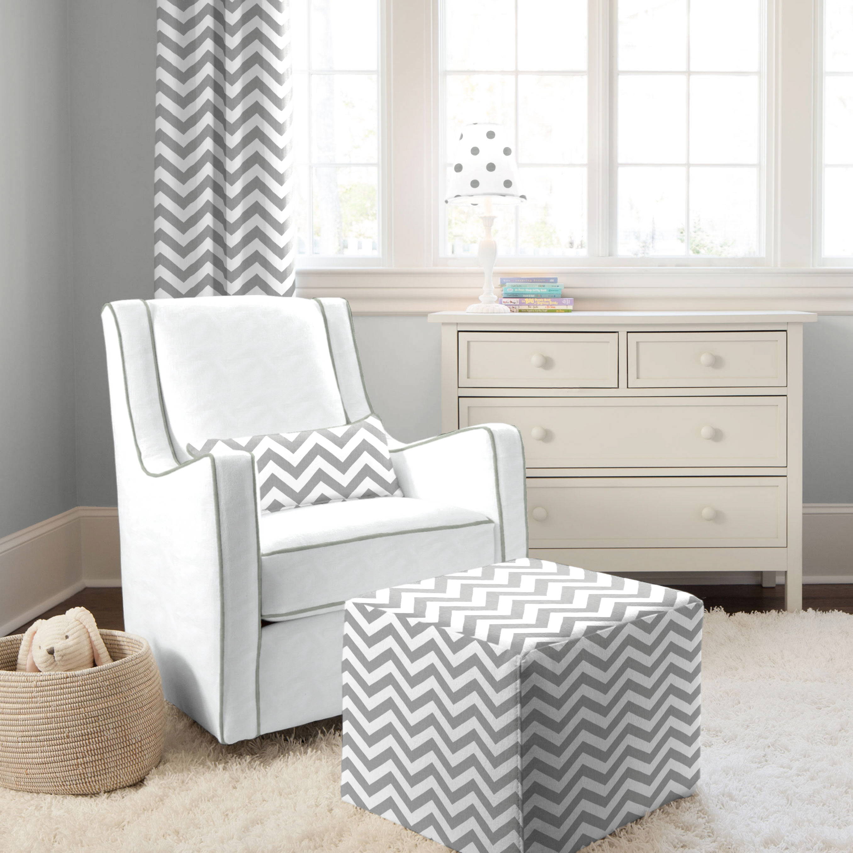 White Grey Glider Zig Zag Design Of Modern Rocking Chair For Nursery ...