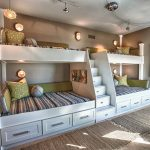 White Quadruple Bunk Beds With Stairs Stripped Bed And Unique Lighting Design