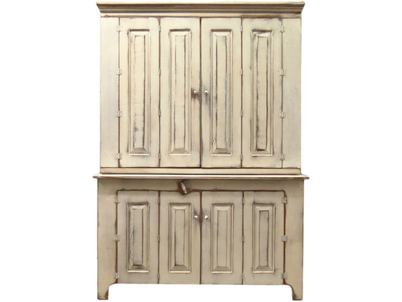 Bon White Rustic TV Hutch With Doors