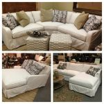 White Slipcovers For Sectional Couches With Ottomans And Decorative Pillows