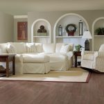 White Slipcovers For Sectional Couches With Wooden Floor And SIde Table