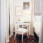 White Small Bedroom Desks On Stylish Rug And Cool Bed