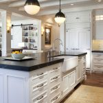 White Wooden Kitchen Set And Kitchen Island With Best Material For Kitchen Sink And Double Round Lamps