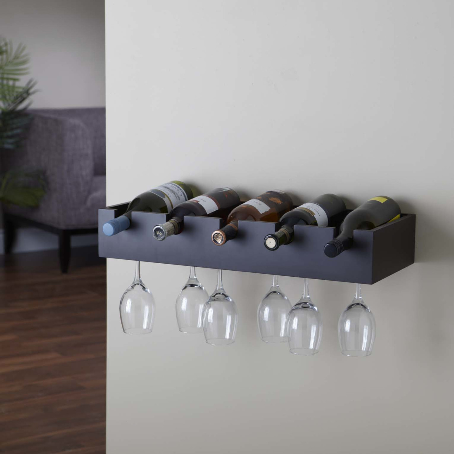 cool wall mounted wine glass holder homesfeed. Black Bedroom Furniture Sets. Home Design Ideas