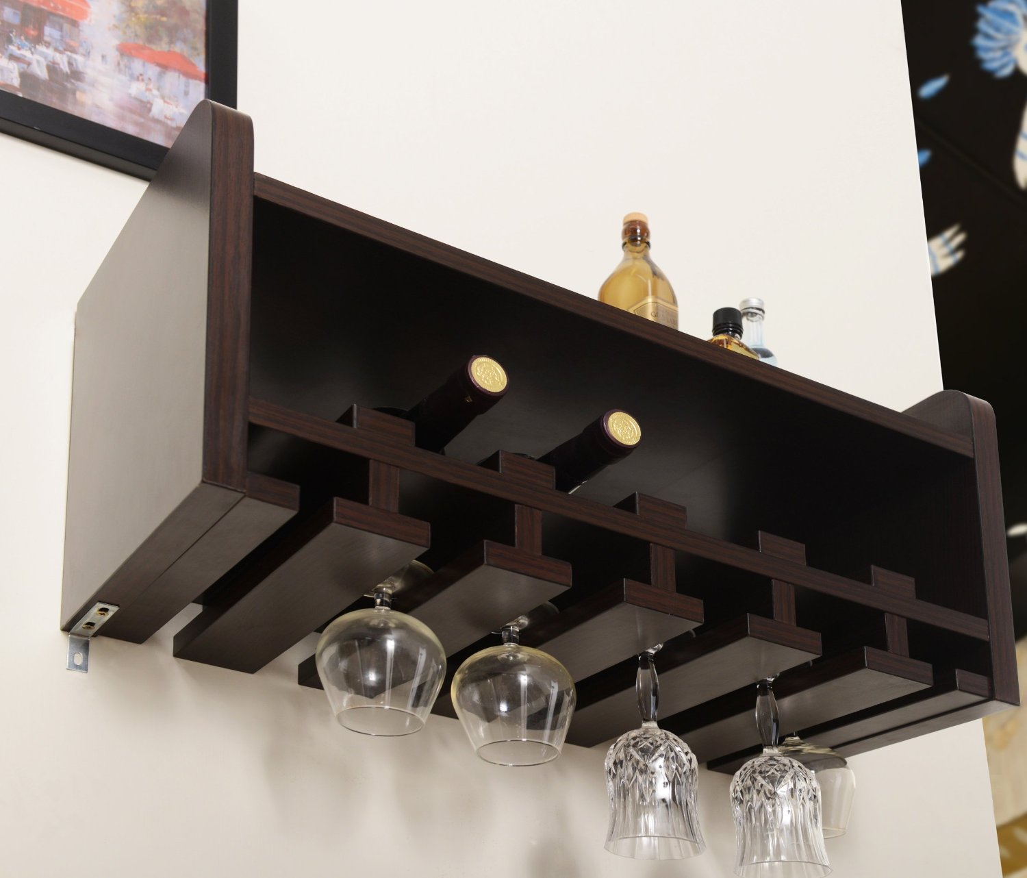 cool wall mounted wine glass holder  homesfeed - wooden black wall glass wine holder on white wall