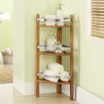 Wooden Corner Linen Towel With Triple Racks On Light Green Wall