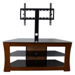 Wooden Flat Screen TV Stands With Mount And Glass Rack