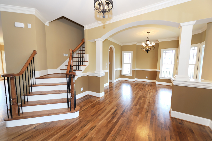 Wooden Floor And Stairs With Cream Top Rated Interior Paint