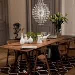 Wooden Ikea Stockholm Dining Table With Cool Rug And Unique Chandelier