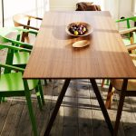 Wooden Ikea Stockholm Dining Table With Green Chair