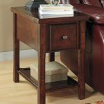 Wooden Small End Table With Drawer And Rack Plus Leather Chair