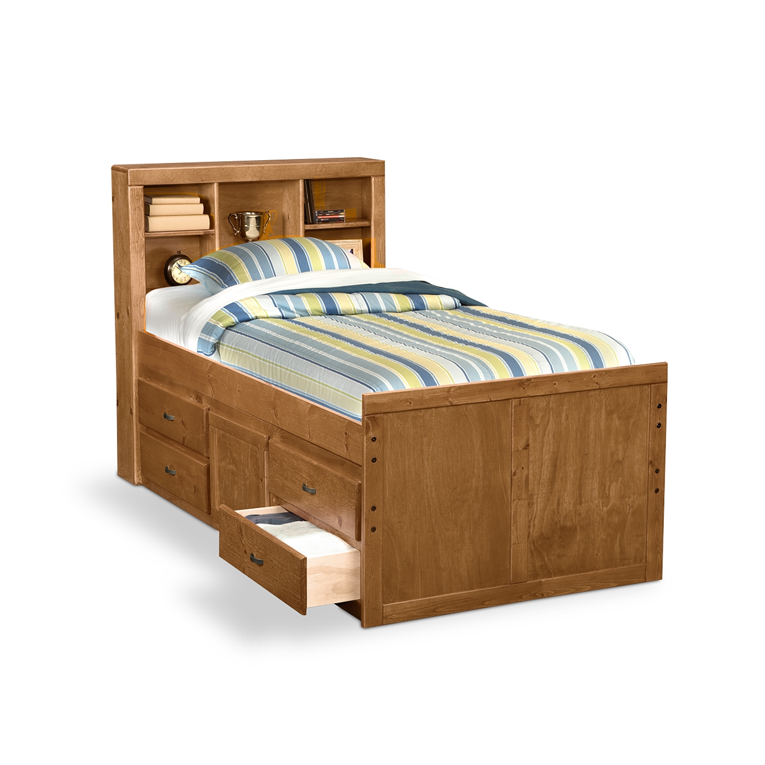 wooden twin bed with drawers underneath and racks on headboard plus stripped bed - Queen Bed Frame With Storage Underneath