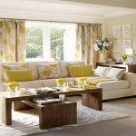 Yellow Floral Pillows For Sofas Decorating With White Sofa Double Long Tables And Stylish Rug