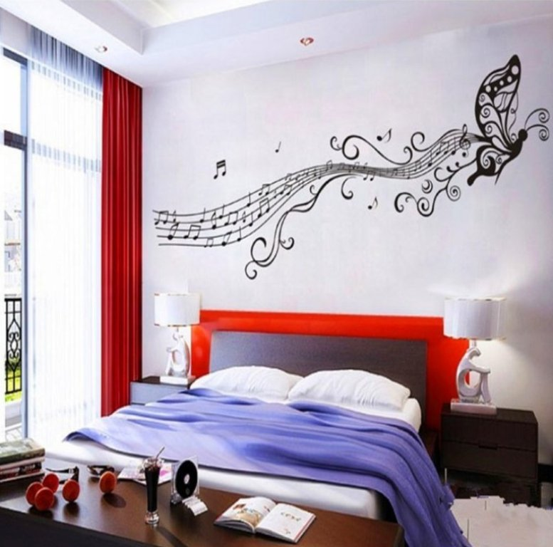 bedroom decor idea with music notes wall
