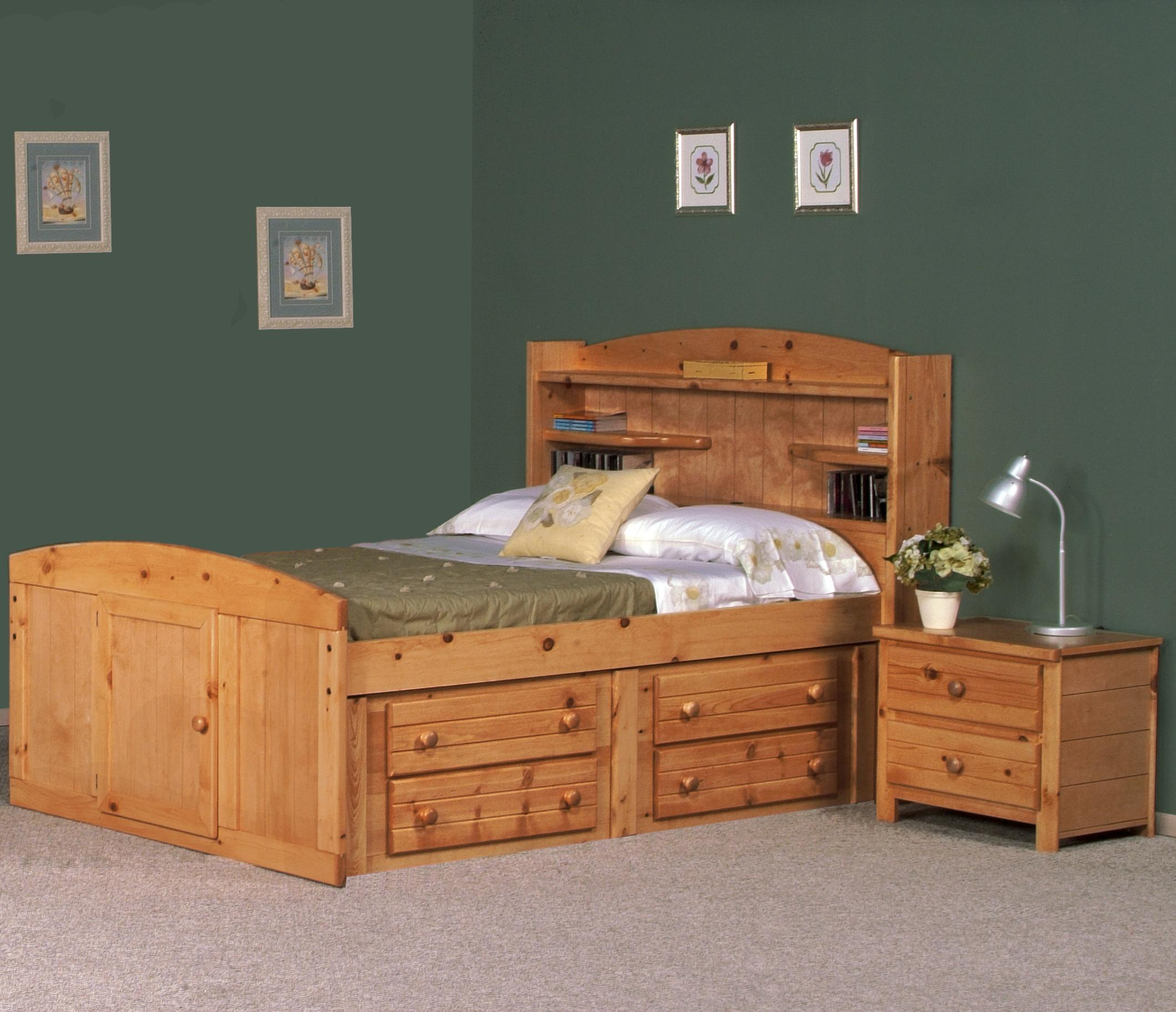 Twin Size Captains Bed Lacquered Maple Wood Captain