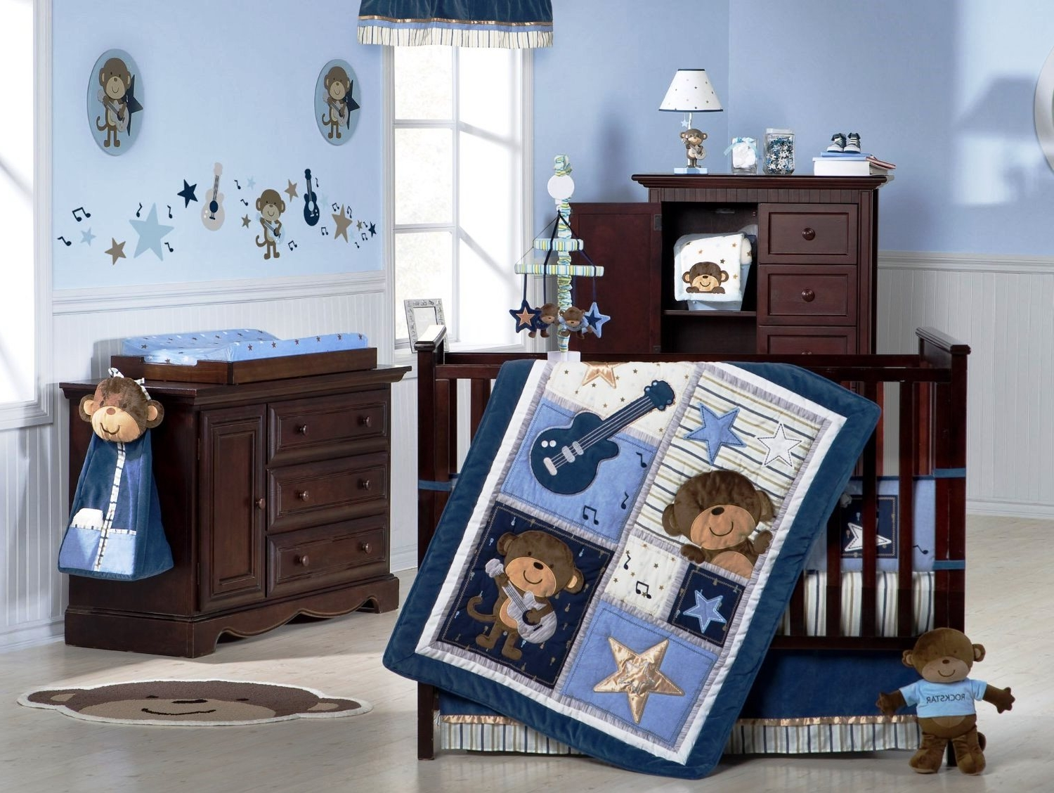 nursery room decor theme with cute monkey pictures wood made baby