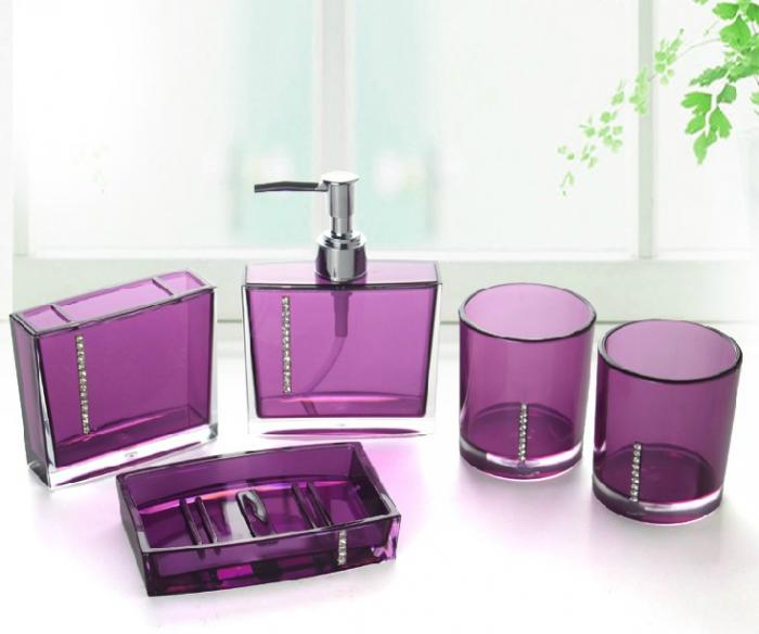 Purple bathroom accessories sets china bathroom set for Bathroom decor purple