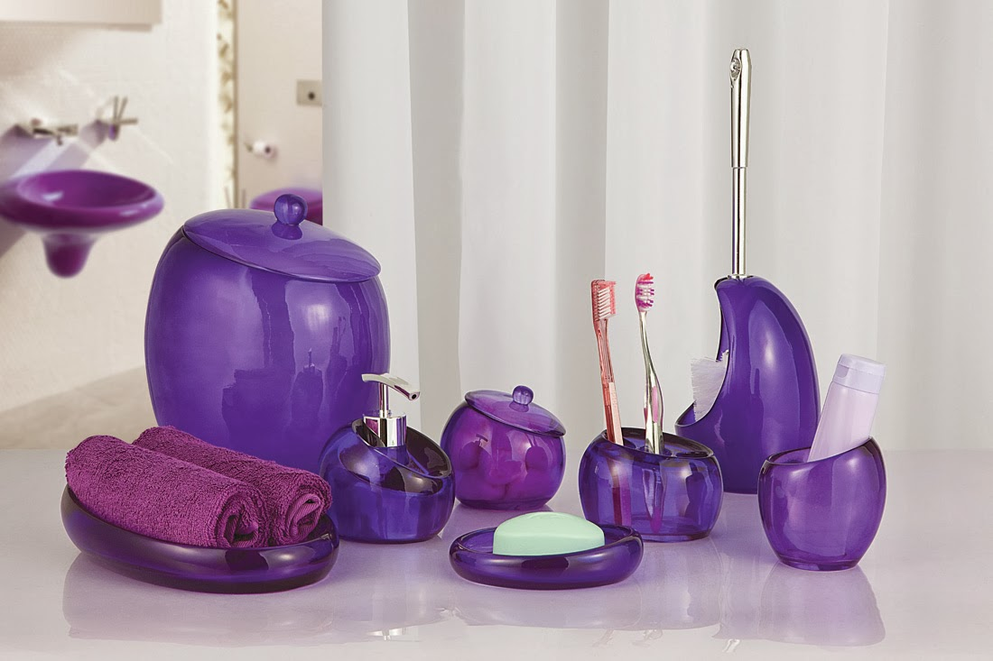 Complete your bathroom with sweet purple bath accessories for Where to get bathroom accessories