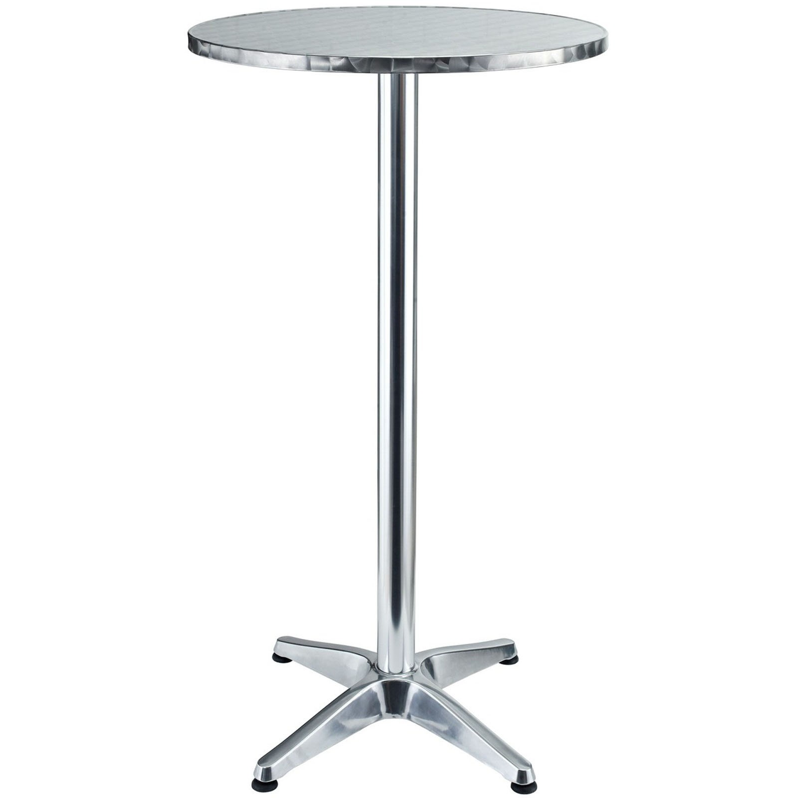A Piece Of Tall Bar Table With Round Metal Tabletop And Base With Casters
