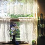 Beautiful White Lace Window Shades With Flower For Kitchen Window