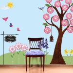 Beautiful wall painting applied on washable wall paint a simple wooden chair