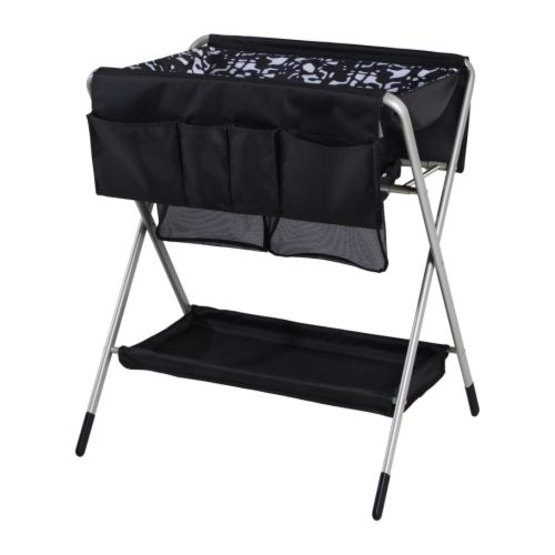 Black Folded Baby Changing Table With X Base