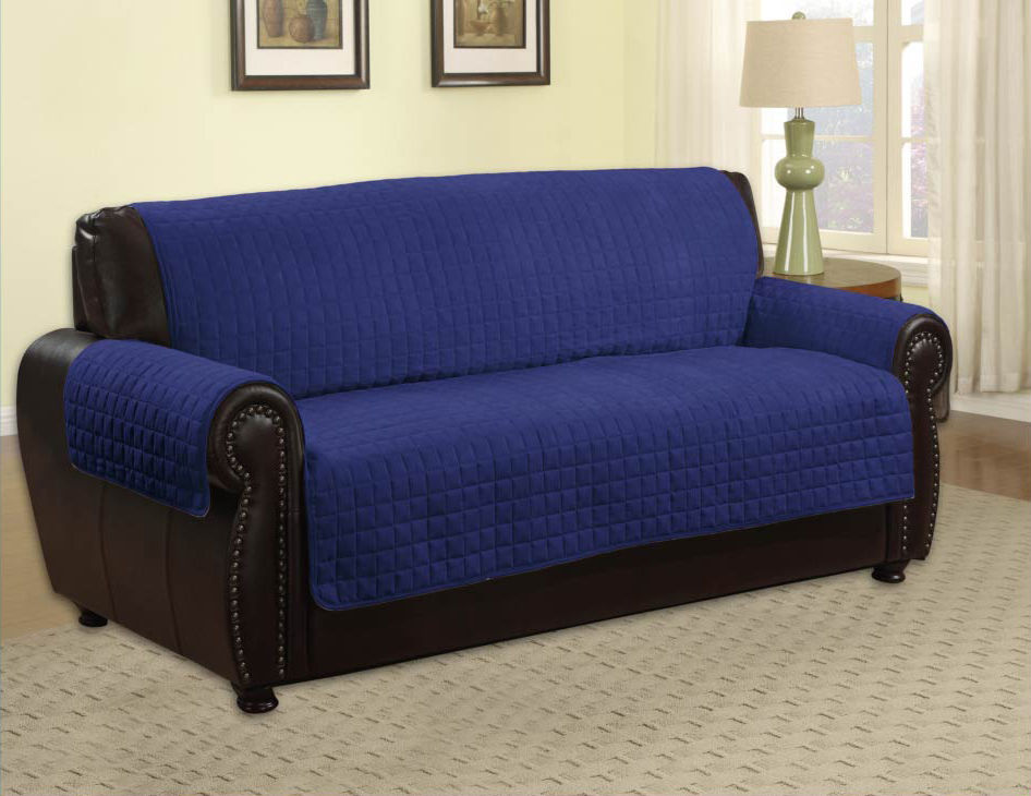 Black Leather Couch With Navy Blue Cover For Pets