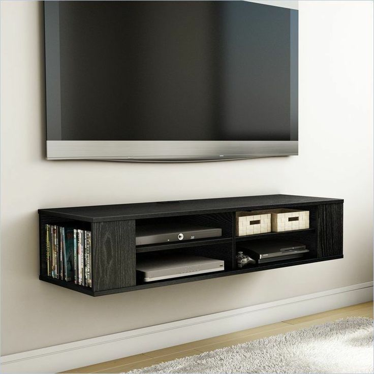 black media shelves idea made of solid wooden a set of flat tv mounted on  wall - Tv Shelf On Wall Arlene Designs