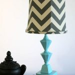 Blue Turquoise Colorful Table Lamps With Black Accessories And Book Cover Plus Zig Zag Shades