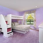 Bunk bed with trundle addition and staircase purple washable paint wall system a pair of recessed light fixtures