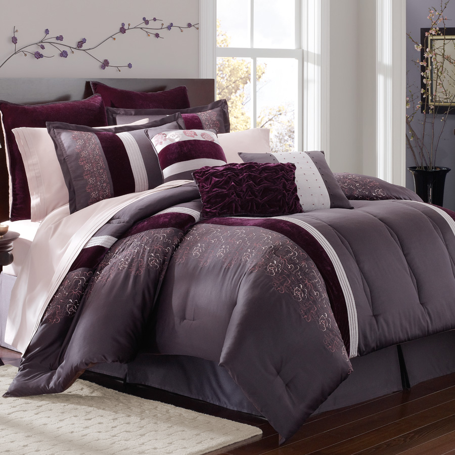 Gray And Black Queen Bedding