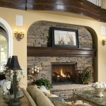 Cool Stone Fire Places With Frame And Elegant Furniture