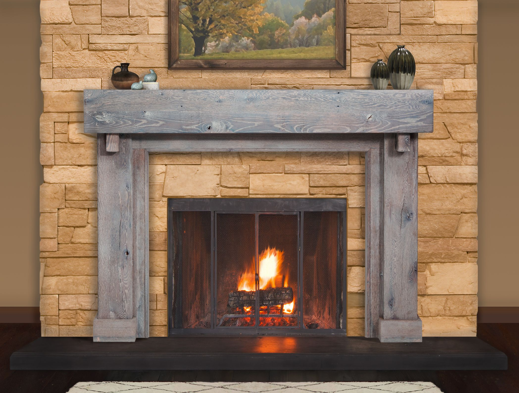Inspiring Rustic Fireplace Mantel Home Design 1042