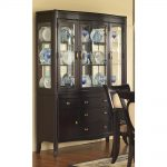 Dark finished sideboard with hutch for organizing decorative plates