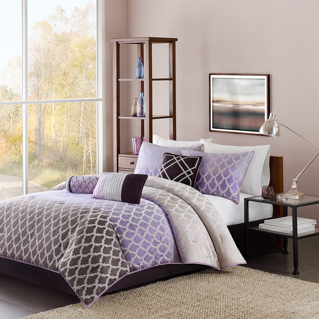 Dark Gray And Purple Bedding Set With Modern Motifs For Standard Size  Platform Bed With Lower