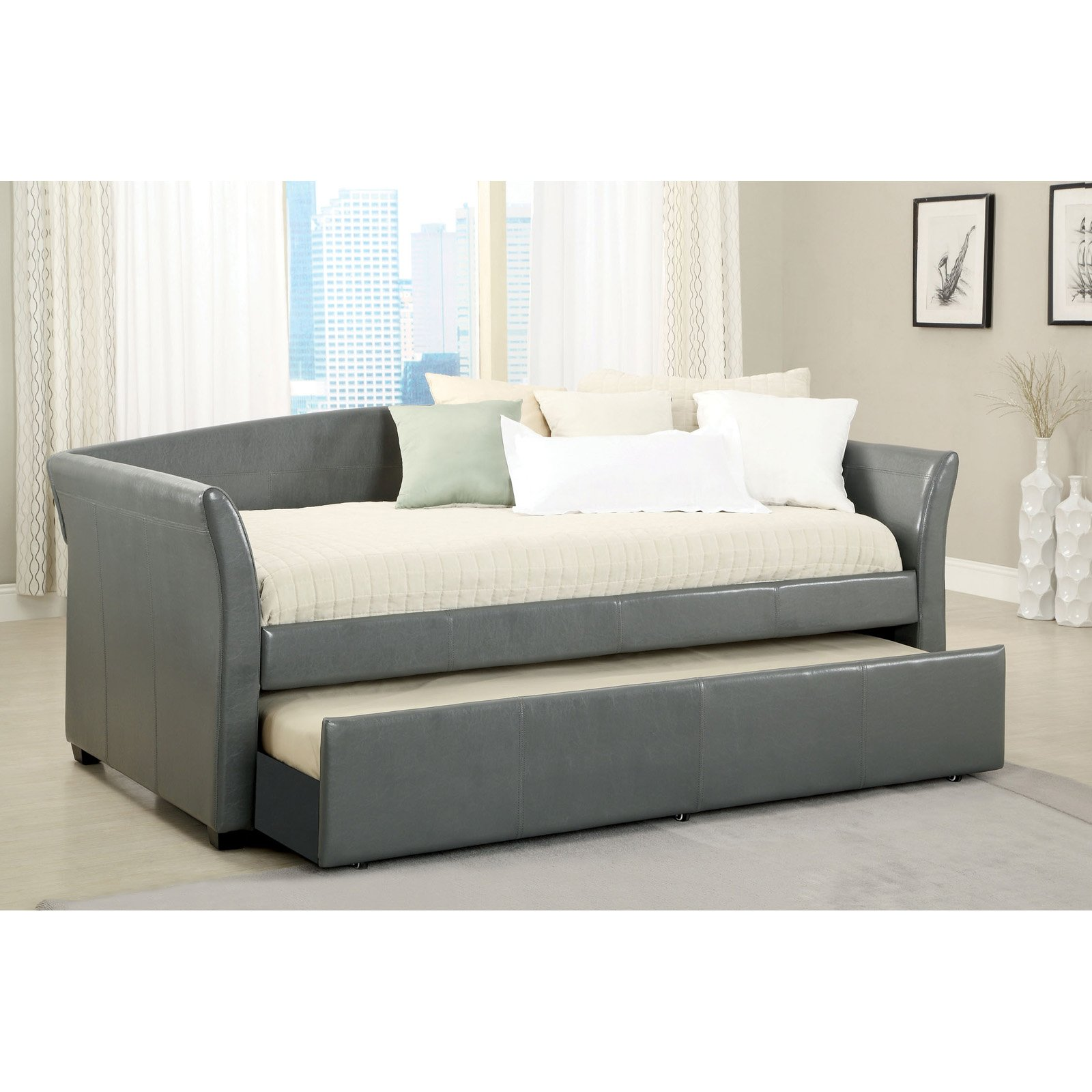Daybed Trundle IKEA With A Cluster Of Accent Pillows