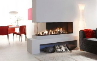 Frameless glass door gas fireplace idea for modern minimalist home fluffy white rug a couch a stunning floor lamp