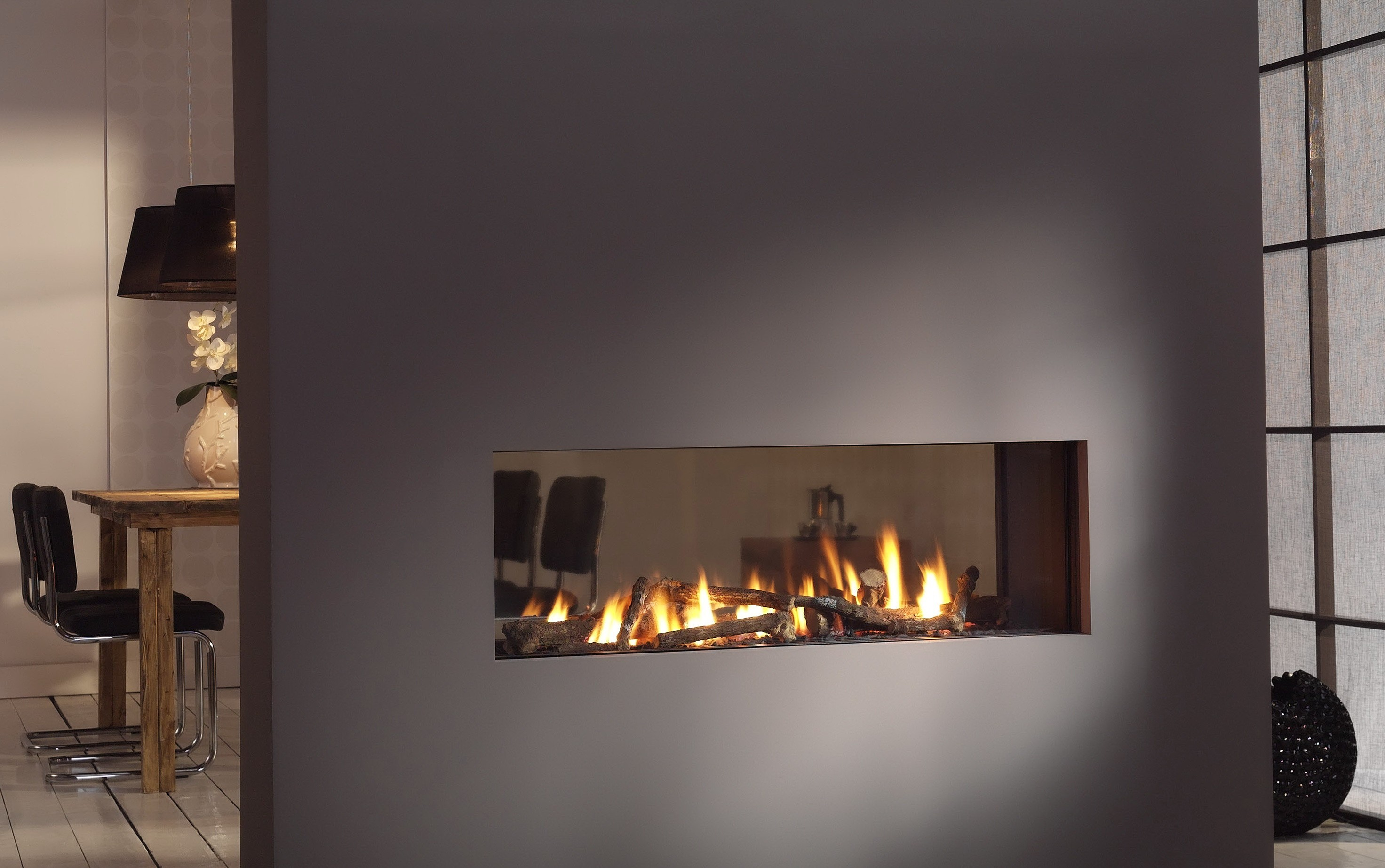 Double Sided Gas Fireplace Warmer Unique Room Divider