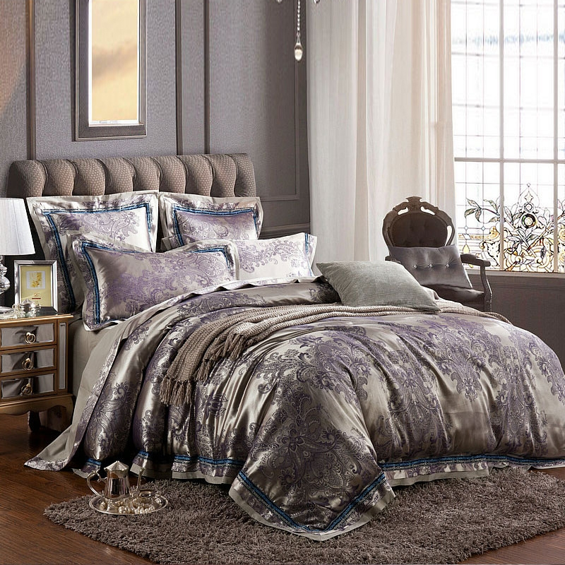 Gray and purple bedding set product for queen size bed gray wool area