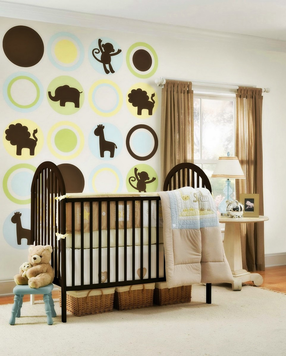 Jungle Themed Nursery Room Idea With Black Painted Wood Baby Crib A White  Side Table With