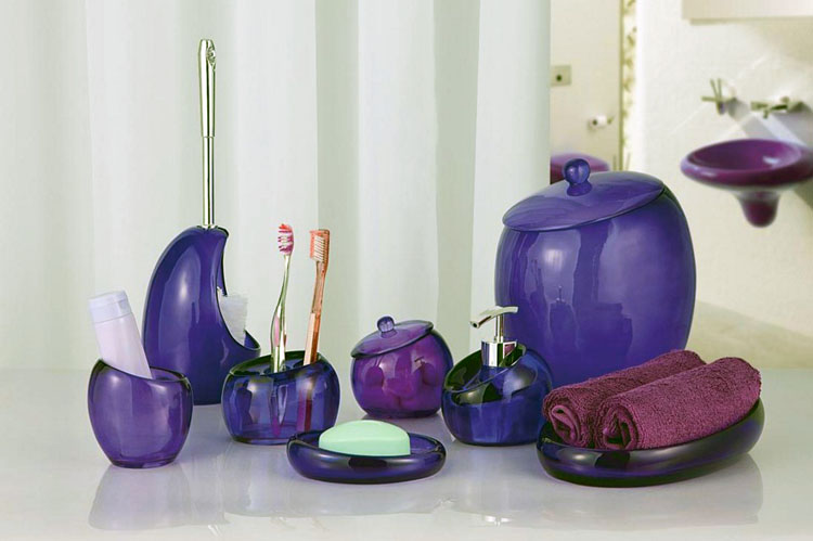 purple glass bathroom accessories. Luxurious purple bath accessories which are made of glass Complete Your Bathroom with Sweet Purple Bath Accessories  HomesFeed