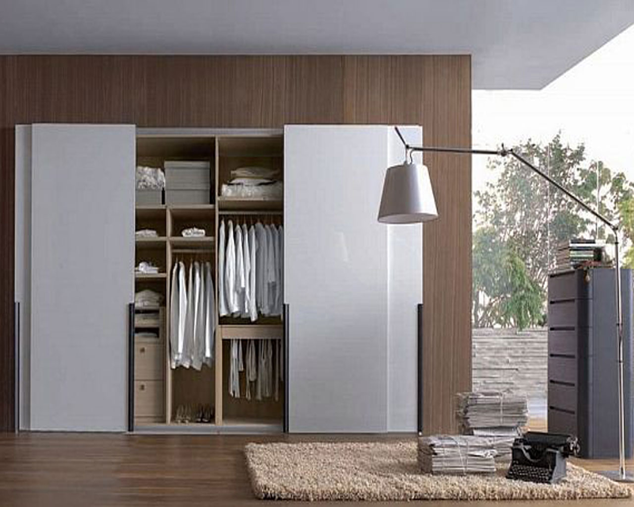 Minimalist Sliding Closet Door In White Modern Floor Lighting Fixture Small  White Interior Rug