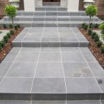 Perfect blue stone paver installation for outdoor