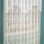 Pretty White Lace Window Shades With Blue Wall Paint