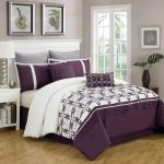 Purple white bedcover idea with gray pillowcases