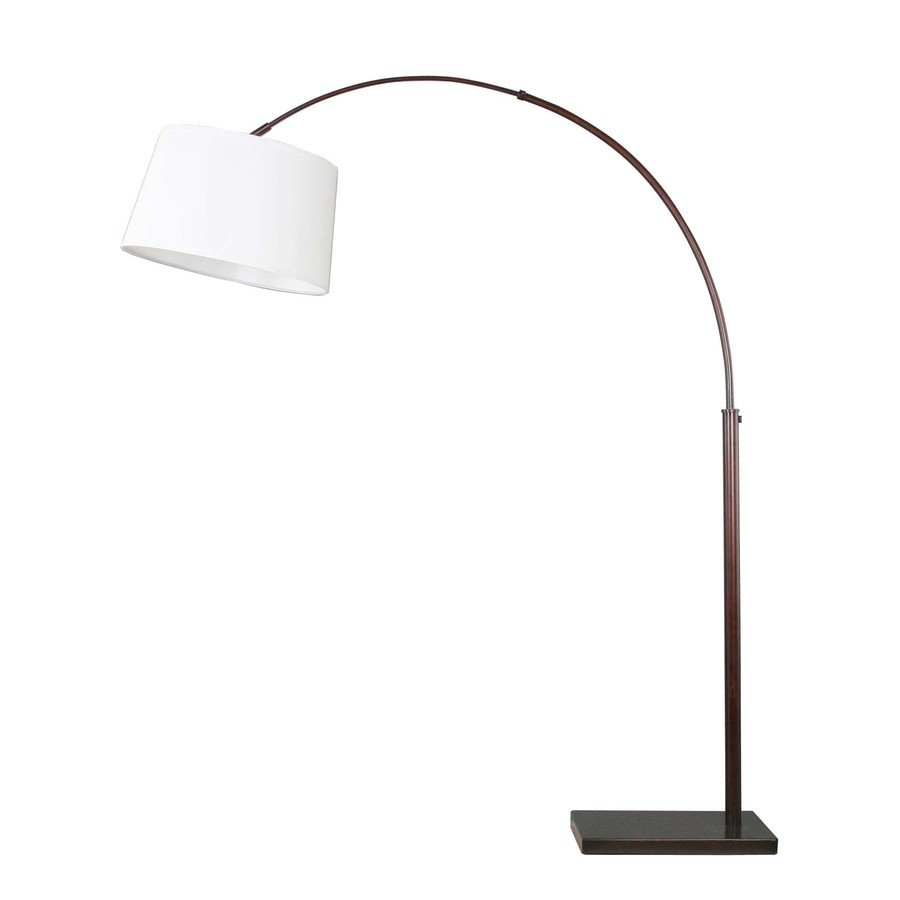 Curved floor lamp with large shade - Semi Curved Standing Lamp From Lowe With White Wide Lampshade