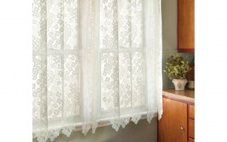 Short White Lace Window Shades With Wooden Cabinet Set And Basket Storage