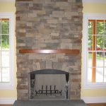 Simple Stone Fire Places With White Frame Window