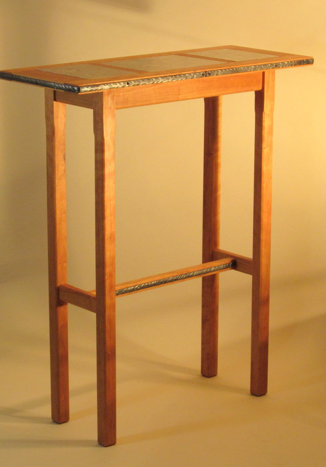 Simple And Tall Wood Accent Table