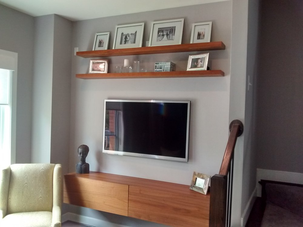 Simple Bedroom Shelves Minimalist Wall Media Made Of Wood A Mounted Tv Set Two Sets In Decorating Ideas